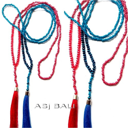 tassels pendant necklaces jilbab hijaber two color crystals beads