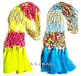 two color beads stone necklaces tassels handmade bali