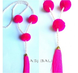 water pearls beads necklaces tassels with triple ball pom pom