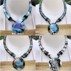 4color chokers necklaces wood hand painting
