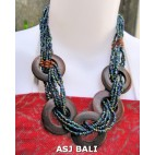 5 coins organic wood ethnic necklaces with beads abalone