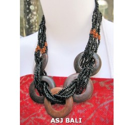 5 coins organic wood ethnic necklaces with beads black