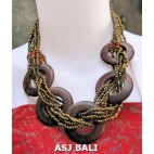 5 coins organic wood ethnic necklaces with beads gold