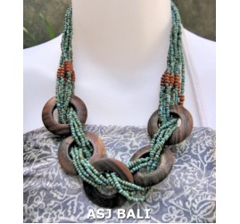 5 coins organic wood ethnic necklaces beads turquoise