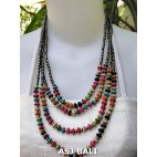 abalone beads wood necklace 4strand designs