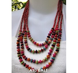 bali bead wood necklaces 4strand red colors
