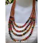 casual beaded wooden mix color orange handmade