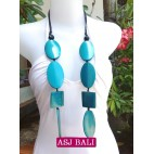 ethnic wooden necklaces carving blue color