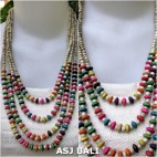 four seeds necklaces mix color wood beads fashion