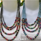 four strands beads wooden necklaces handmade
