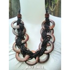 large size black color beads necklaces sono wooden coins