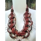large size brown color beads necklaces sono wooden coins