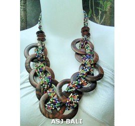 large size multi color beads necklaces sono wooden coins