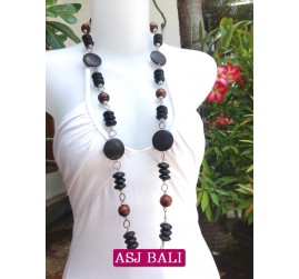 long single strand wooden beads necklaces