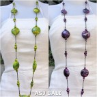 long strand wood colored necklaces handmade bali