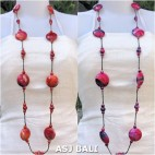 long strand wooden beads necklaces colored