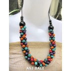 multi color wood beads necklaces from bali