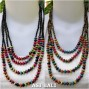 multi color wooden bead necklaces four strands