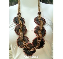 natural sono wooden necklaces sunflowers golden