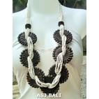 natural sono wooden necklaces sunflowers white