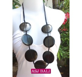 necklaces wood black coins ethnic design from bali