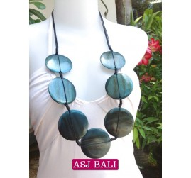 necklaces wood blue coins ethnic design from bali