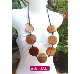 necklaces wood brown coins ethnic design from bali