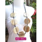 necklaces wood natural coins ethnic design from bali