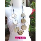 necklaces wood silver coins ethnic design from bali