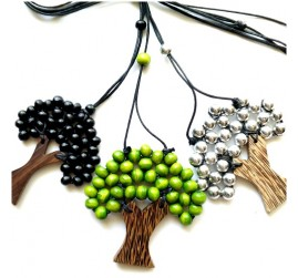 organic coco wood necklaces palm pendant handmade