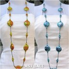 two color long strand wood necklaces handmade bali