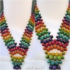 wooden bead necklaces rainbow color wrapted