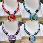 wooden chokers necklaces pendant hand painted