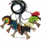 all color wooden beads necklaces palm tree with leather strings