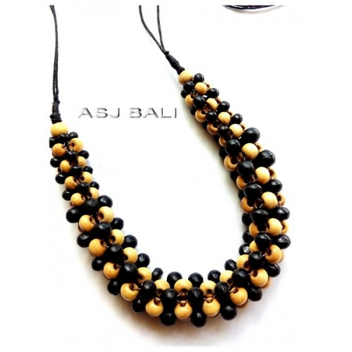 bali natural wood beads color necklaces leather strings handmade