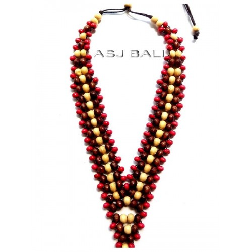 bali wood beaded color necklaces ethnic design hand made