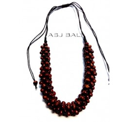 bali wood beads brown color necklaces leather strings ethnic handmade