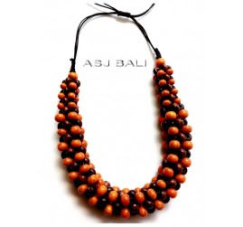 bali wood beads coloring necklaces with leather strings