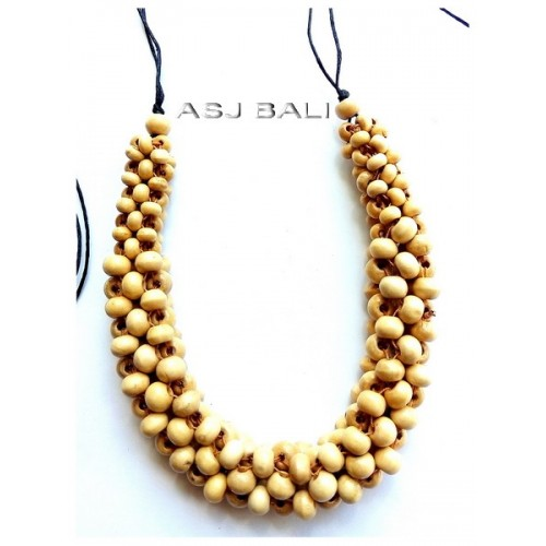 bali wood beads natural color necklaces with leather strings
