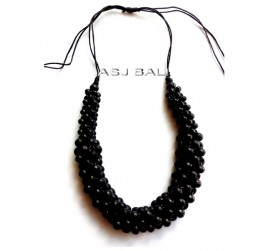 bali wooden beads black color necklaces ethnic handmade