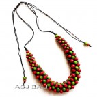 bali wooden beads color necklaces leather strings wired
