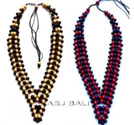 bali wooden beads colored necklaces ethnic design full hand made