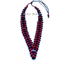 bali wooden beads coloring necklaces ethnic design full handmade