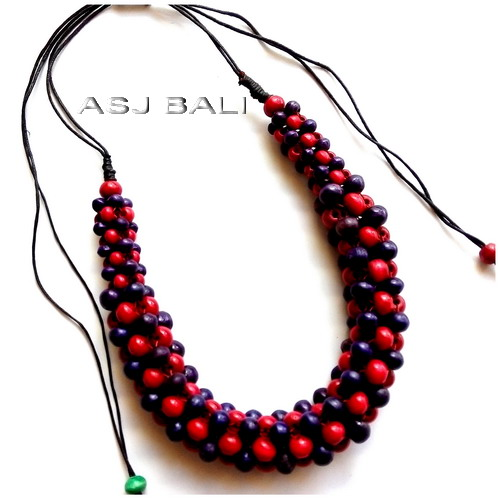 bali wooden beads coloring necklaces leather strings ethnic handmade