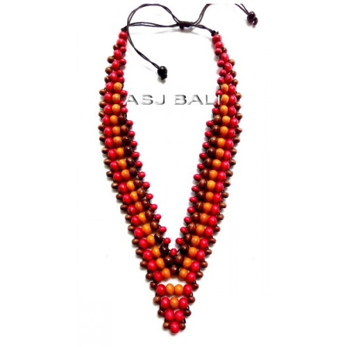 bali wooden beads red color necklaces leather strings ethnic design