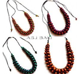 four color wooden beads necklaces leather strings ethnic handmade