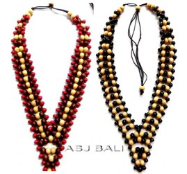 two color wooden beads necklaces ethnic design handmade