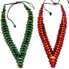 two coloring wood beads necklaces leather strings ethnic handmade