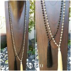 2color black white full agate bead stone necklace fashion handmade