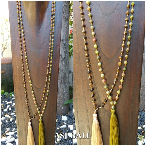2coloring natural beads agate stone tassels necklace pendant jewelry design